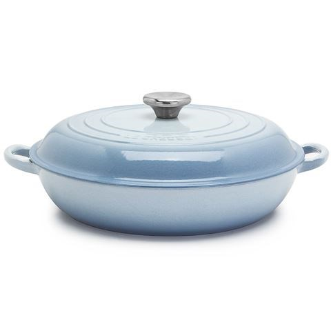 "Imagine the delightful things you will make in this, for serious home cooks only.  <a href=""http://www.petersofkensington.com.au/Public/Le-Creuset-Coastal-Blue-Shallow-Casserole-Pot-30cm-32L.aspx"">Le Creuset pot from Peter's Of Kensington</a>"