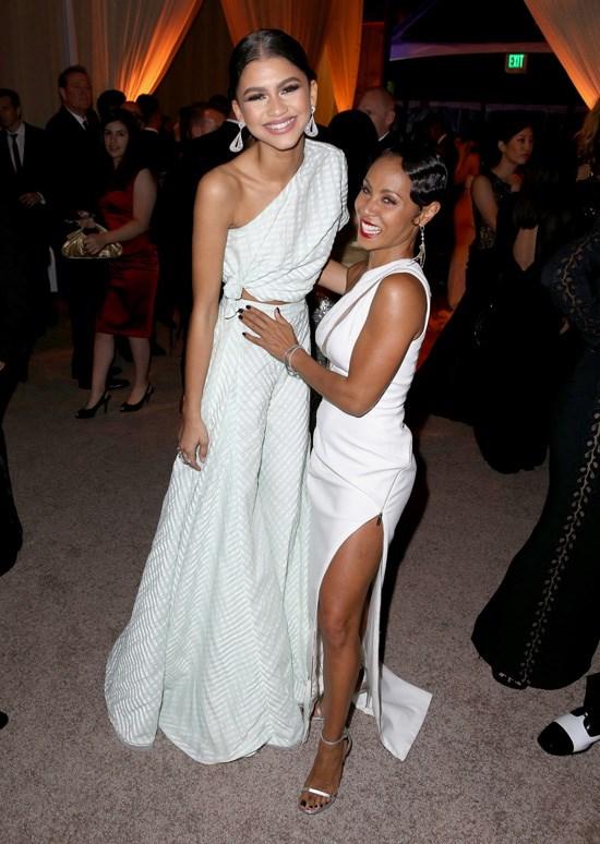 Zendaya and Jada Pinkett-Smith attend Rihanna's Diamond Ball, Los Angeles, December 2015.