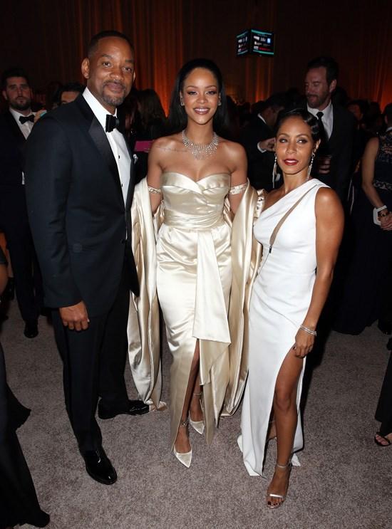 Will Smith, Rihanna and Jada Pinkett-Smith attend Rihanna's Diamond Ball, Los Angeles, December 2015.