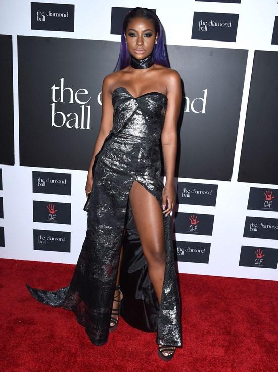 Justine Skye attends Rihanna's Diamond Ball, Los Angeles, December 2015.