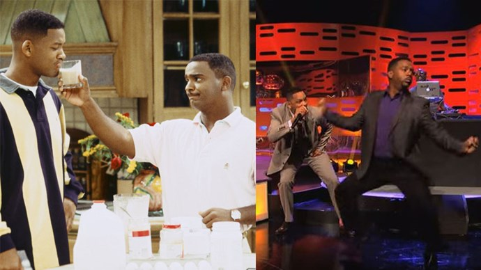 """<strong>Fresh Prince of Bel-Air</strong> <br><br> On the <a href=""""https://www.youtube.com/watch?v=ZwS14TiO7Pk"""">Graham Norton Show in 2013</a>, Will Smith surprises Graham with a rap medley, featuring Alfonso Ribeiro (Carlton Banks) dancing to Apache (Jump On It) by the Sugar Hill Gang."""