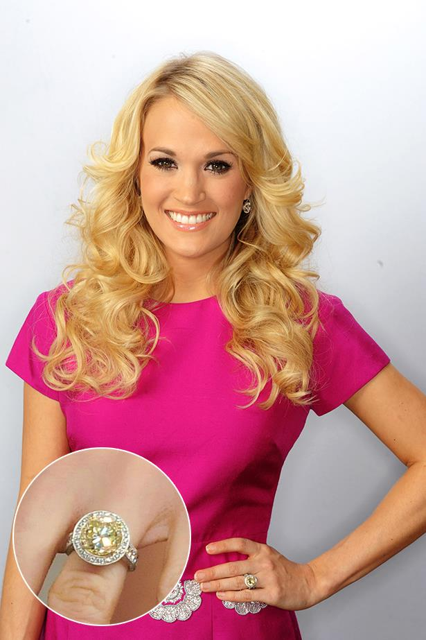 Carrie Underwood wears a canary yellow diamond.