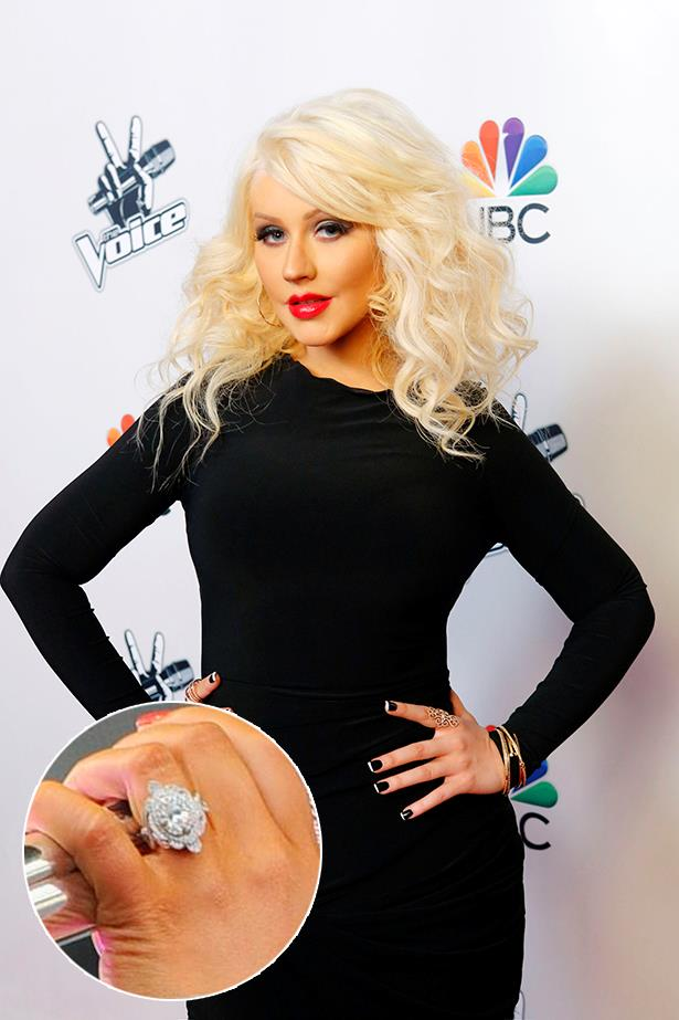 **Christina Aguilera**<br><br>  Christina Aguilera's art deco diamond ring weighs in around 15 carats and is reportedly worth around $40,000.