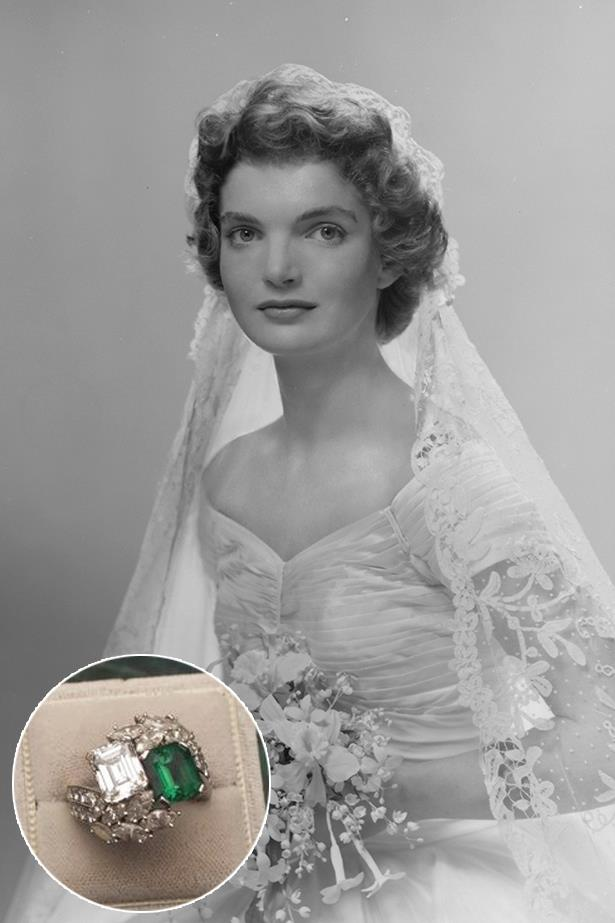 **Jackie O**<br><br>  Jackie O wore this diamond and emerald ring from John F. Kennedy.