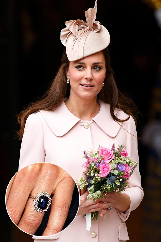 **Kate Middleton**<br><Br>  Possibly one of the most famous engagement rings in history, Kate Middleton's diamond and sapphire ring was handed down to her from her mother-in-law, Diana, Princess of Wales.