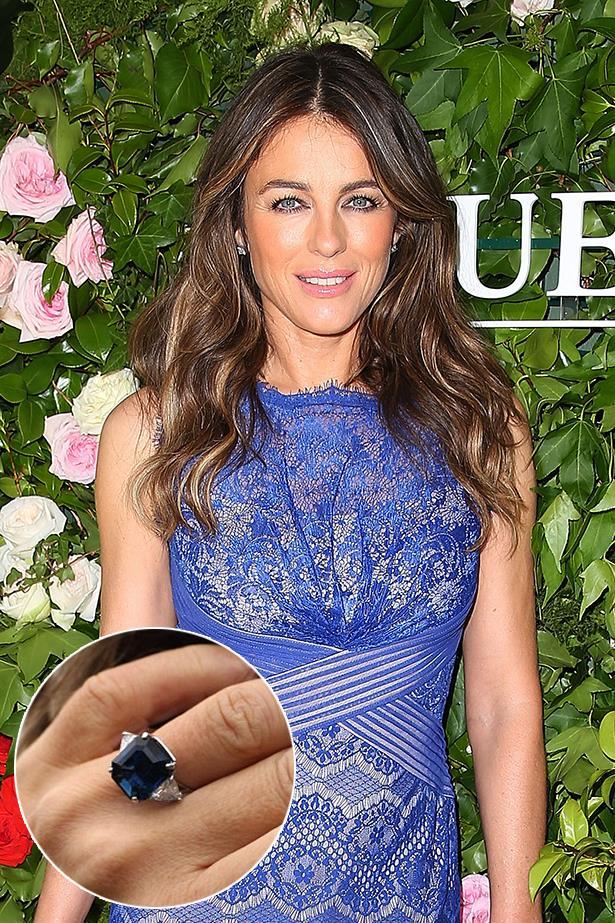 **Elizabeth Hurley**<br><br>  Liz Hurley scored this sapphire ring from Shane Warne.