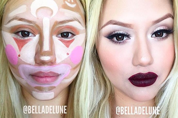 <strong>Clown contouring.</strong> Although the resulting outcome isn't terrible, we think the over-contouring is mostly unnecessary.