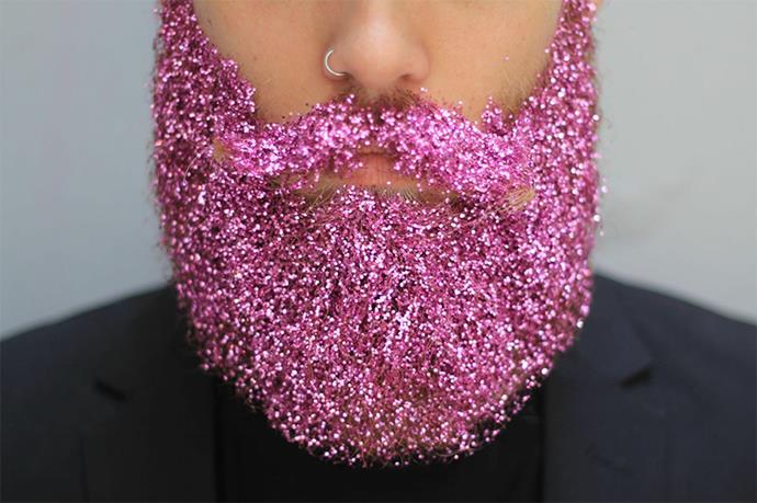 <strong>Glitterbeard.</strong> Don't get us wrong, the idea that dudes are embracing beauty trends like glitterbeards is something we're definitely behind, but the thought of this much glitter out in the open is a little scary to us.