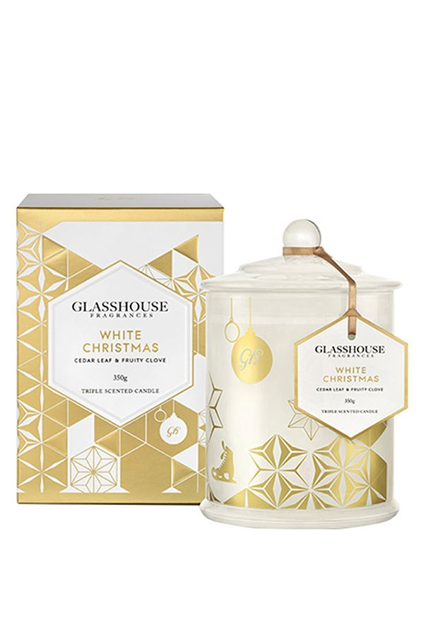 "<strong>Triple Scented Candle in White Christmas, $44.95, Glasshouse, <a href=""http://www.glasshousefragrances.com/white-christmas-candle-2015.html"">glasshouse.com.au</a></strong> <br><br> A warm, woody fragrance to recreate the atmosphere of a cold December day."