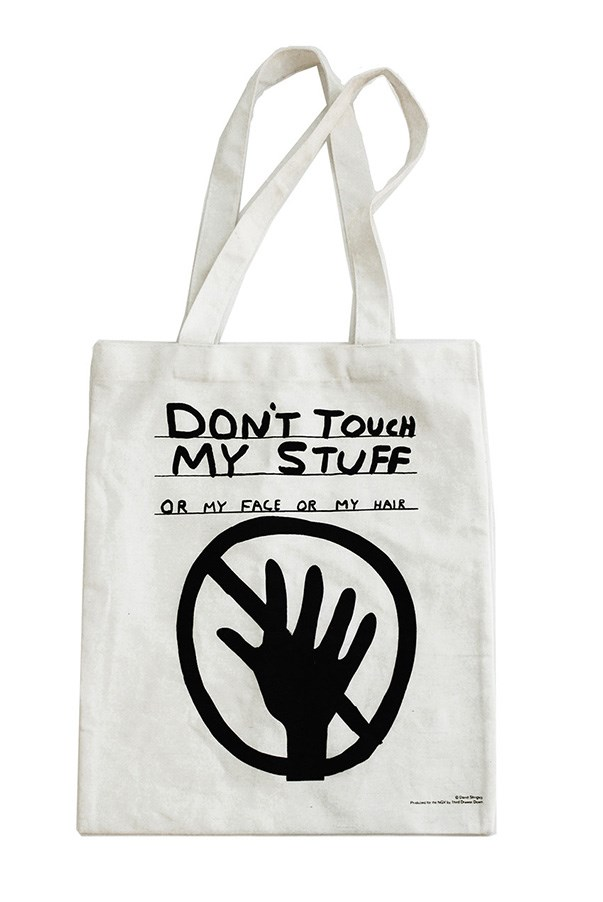 "For your little bud with attitude. <br><bR> Tote, $32, Third Drawer Down X David Shrigley,<a href=""http://www.thirddrawerdown.com/products/dont-touch-my-stuff-tote-david-shrigley""> thirddrawerdown.com</a>"