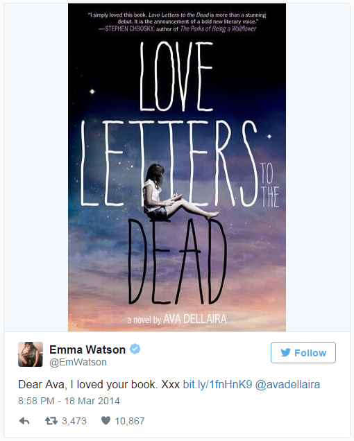 <strong>7. <em>Love Letters to the Dead</em> by Ava Dellaria</strong> <br><br> Quite the validation for this first-time author's debut novel.