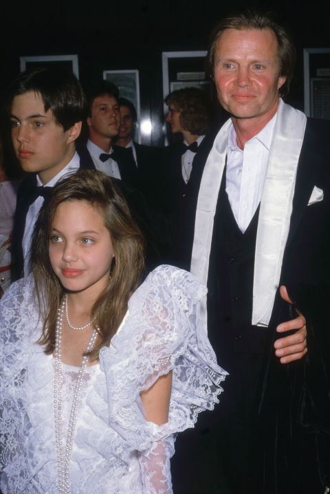 ANGELINA JOLIE, 10, WITH HER FATHER JON VOIGHT At the 58th Academy Awards in 1986. GETTY