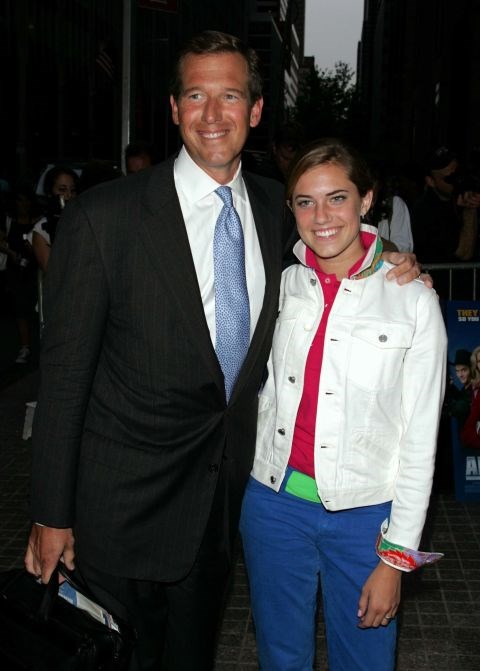 ALLISON WILLIAMS, 16, WITH HER FATHER BRIAN WILLIAMS At the Anchorman premiere in 2004. GETTY