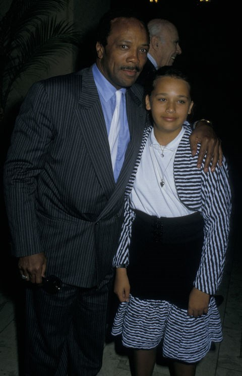 RASHIDA JONES, 12, WITH HER FATHER QUINCY JONES At American Soviet Film Initiative Gala in 1988 GETTY