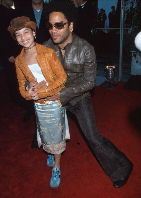 ZOE KRAVITZ, 11, WITH HER FATHER LENNY KRAVITZ At the 42nd Grammy Awards in 2000. GETTY