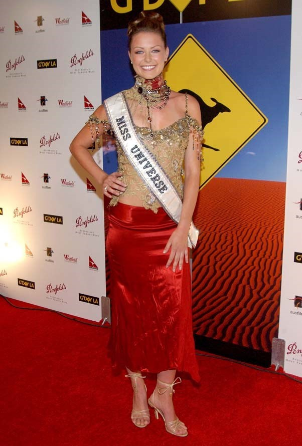 2005, January: Jen rocks an incredible 2000's ensemble at the G'Day LA Penfolds Gala Black Tie Dinner during her year on the Miss Universe media trail.