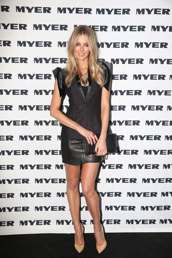 2013, April: Playing with textures in a leather skirt and a black metallic vest at the Jayson Brunsdon show during Mercedes-Benz Fashion Week Australia S/S 2013/14 in Sydney.