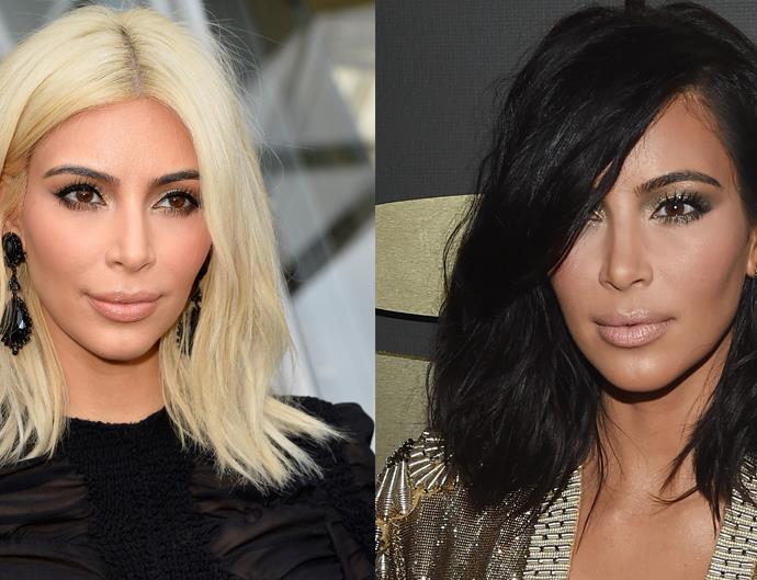 Kim Kardashian Blonde and Brunette