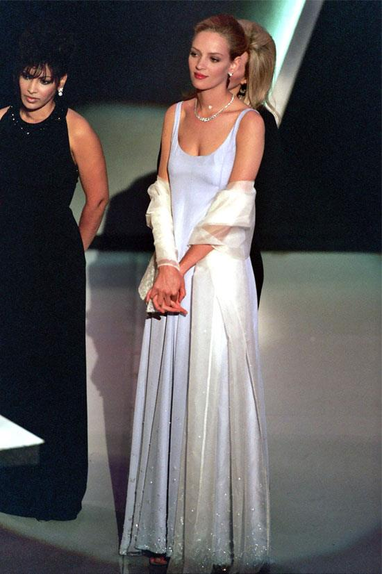 <strong>Uma Thurman at the Oscars, 1995</strong> <br><br> This Prada gown worn by Uma Thurman might look understated, but was actually high fashion.