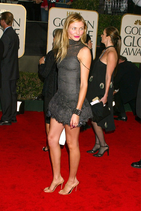 <strong>Cameron Diaz at the Golden Globe Awards, 2003</strong> <br><br> Cameron's mini dress number caused a bit of a stir at the Golden Globes that year, she totally worked it.