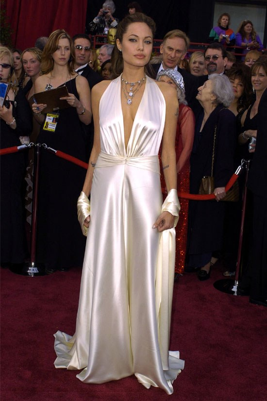 <strong>Angelina Jolie at the Oscars, 2004</strong> <br><br> This white satin gown by Marc Bouwer was a surprise, in the best possible way.