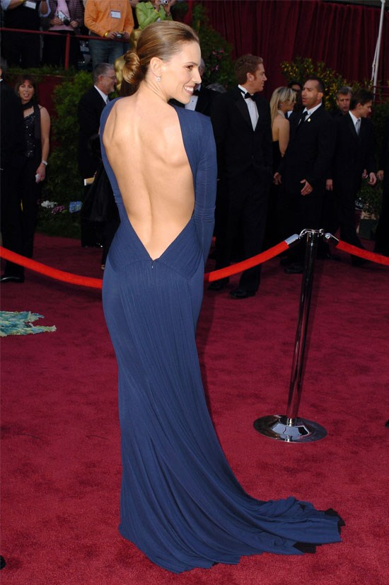 <strong>Hilary Swank at the Oscars, 2005</strong> <br><br> Hilary Swank wore one of THE most talked about dresses of all time, and there's no surprise as to why. The blue, the back, oh my!