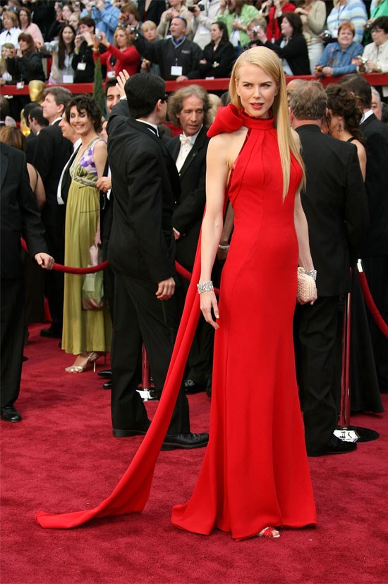 <strong>Nicole Kidman at the Oscars, 2007</strong> <br><br> Nicole wowed in this red Balenciaga gown. Some criticised her for the large bow next to her head, but it was an elegant touch to the dress.