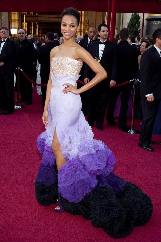 <strong>Zoe Saldana at the Oscars, 2010</strong> <br><br> Zoe definitely had us all talking by making a red carpet appearance in some not-so-typical shades of purple.