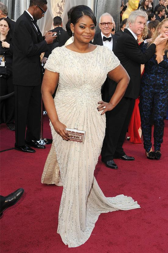<strong>Octavia Spencer at the Oscars, 2012</strong> <br><br> Octavia Spencer won the Oscar for best actress in a supporting role for her portrayal of the hot-headed maid Minny Jackson. She looked like a vision in this Tadashi Shoji gown.