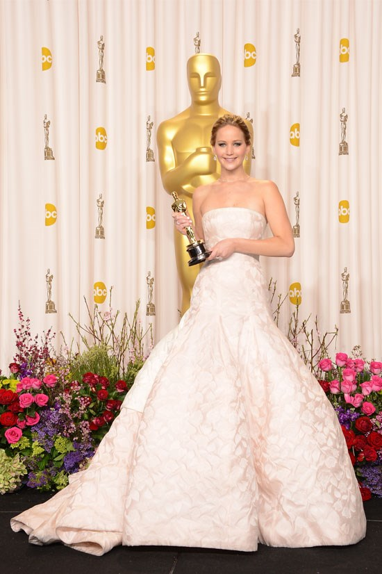 <strong>Jennifer Lawrence at the Oscars, 2013</strong> <br><br> There was a lot to talk about in relation to Jennifer Lawrence at the Oscars this year – her first academy award, the famous fall and THAT Christian Dior Couture gown.