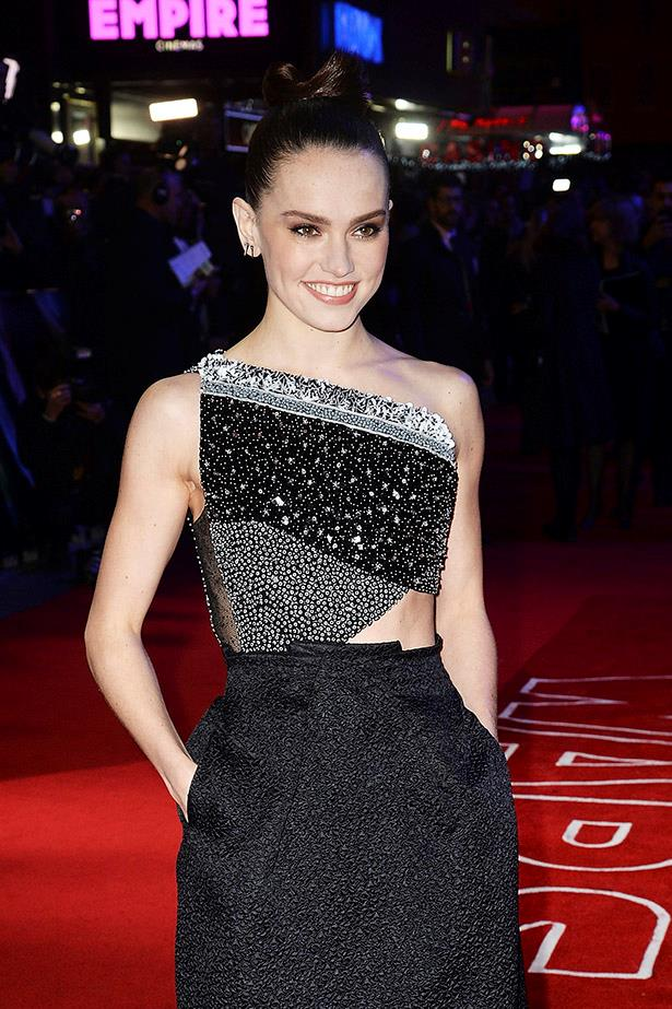 "Daisy Ridley attends the European Premiere of ""Star Wars: The Force Awakens"" at Leicester Square on December 16, 2015 in London, England."