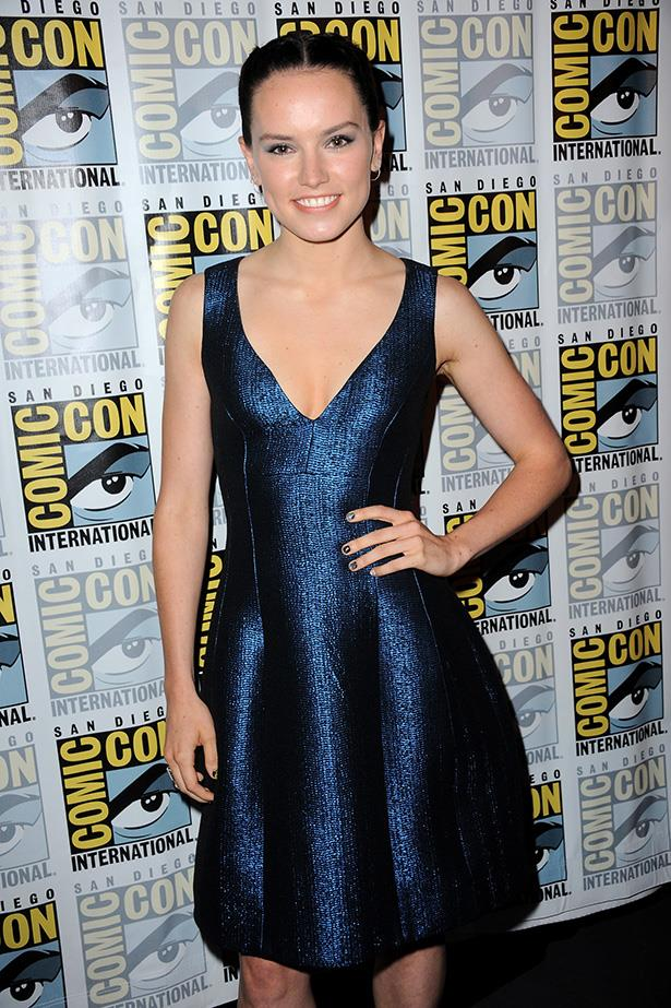 Daisy Ridley poses at the Lucasfilm panel during Comic-Con International 2015 at the San Diego Convention Centre on July 10, 2015 in San Diego, California.