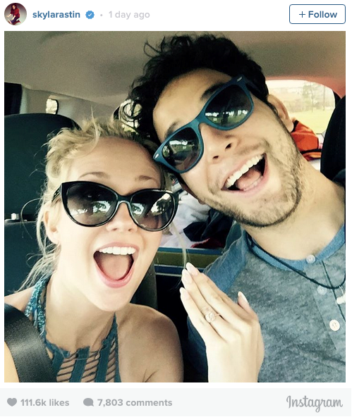 """ACA-AMAZING! Pitch Perfect stars Skylar Astin and Anna Camp announced their engagement this week with a super cute Instagram post.<br> Astin, who plays Jesse in the film posted the pic with the caption, """"I asked. She said yes!!!"""" <br> The couple, who have starred in both Pitch Perfect films (Anna Camp plays Aubrey)  have been dating since 2013."""