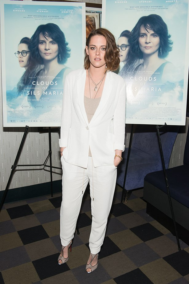 How chic is Kristen Stewart in this all white ensemble? The answer is very chic, obviously. Summer outfit goals, activated. Image: Getty