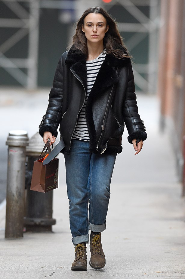 Exhibit C: Keira sticks fast to her uniform in chilly New York.