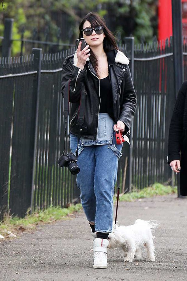 Daisy Lowe <p> <p> If you're worried about doing the dungaree thing, follow Daisy Lowe's lead and leave the top panel undone for a distinctly 90s take on the trend.