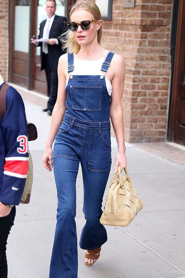 Kate Bosworth <p> <p> Stepping out in NYC, Kate dons a perfect pair of dungarees by Frame Denim.