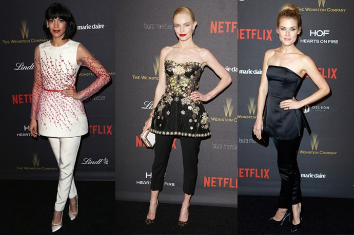 <strong>PEPLUMS AND PANTS.</strong> <p> <p> Stephanie Sigman, Kate Bosworth and Rachael Taylor.