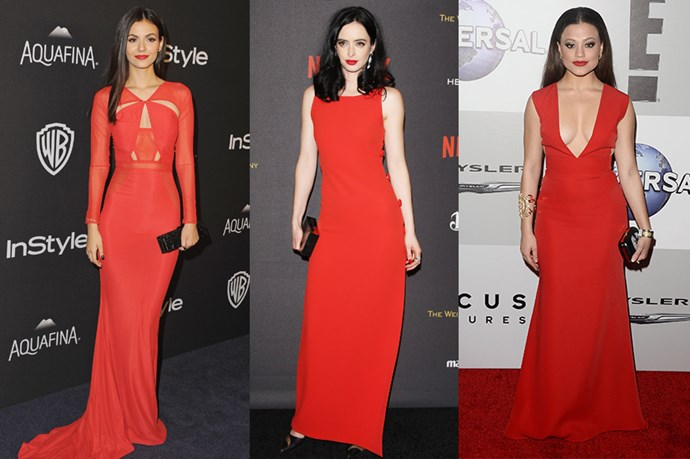 RED DRESSES AND RED LIPS. <p> <p> Victoria Justice, Krysten Ritter and Sarah Jeffery.