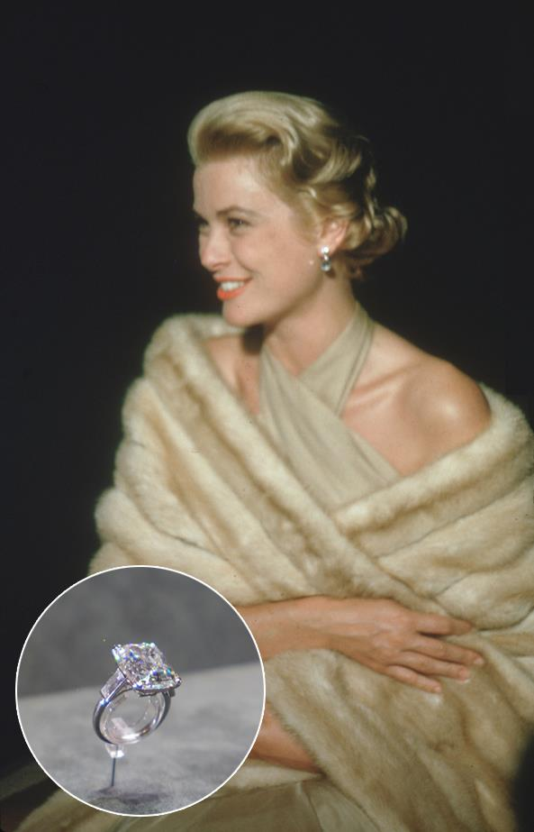 ***Grace Kelly.***<br><br> Grace Kelly's Cartier emerald-cut ring, which was flanked by two baguettes, came in at around 10.47-carats and $5.5 million.