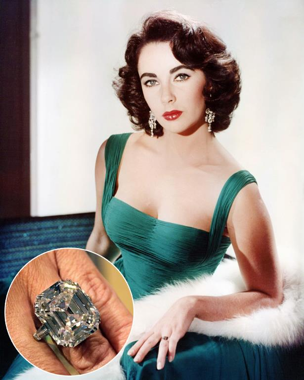 ***Elizabeth Taylor.***<br><br> While Liz did indeed receive quite a few engagement rings in her life, the most iconic was this 33-carat, D colour, internally flawless ring from Richard Burton. It resold at auction for $12.1 million.
