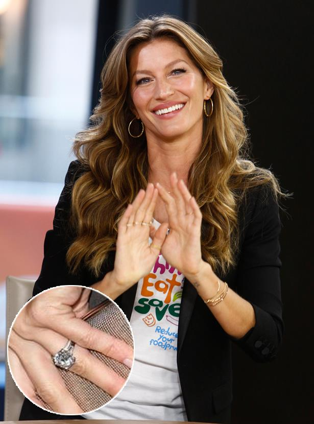 ***Gisele Bundchen.***<br><br> Tom Brady gave Gisele this solitaire 4-carat diamond ring in 2009.