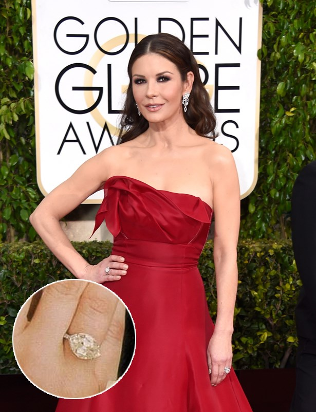 ***Catherine Zeta Jones.***<br><br> Michael Douglas dug deep into the archives for this 1920s 10-carat ring.