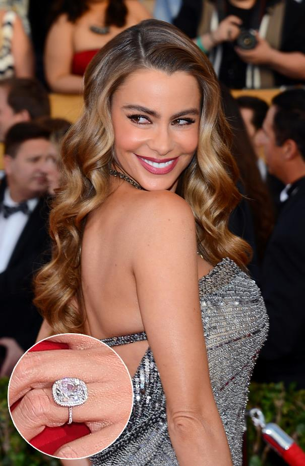 ***Sofia Vergara.***<br><br> Sofia scored quite the rock from Joe Manganiello—a 7-carat cushion-cut stone, surrounded by a halo of diamonds.