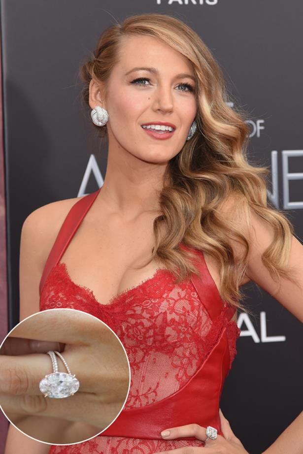 ***Blake Lively.***<br><Br> The ring that inspired a million Pinterest posts, Blake Lively's 12-carat oval shaped pink diamond is a stunner.