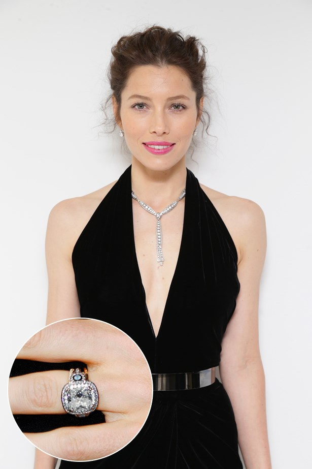 ***Jessica Biel.***<br><br> One of the most unique rings in Hollywood, Jessica's 6-carat diamond is surrounded by aquamarines, diamonds and blackened platinum settings.