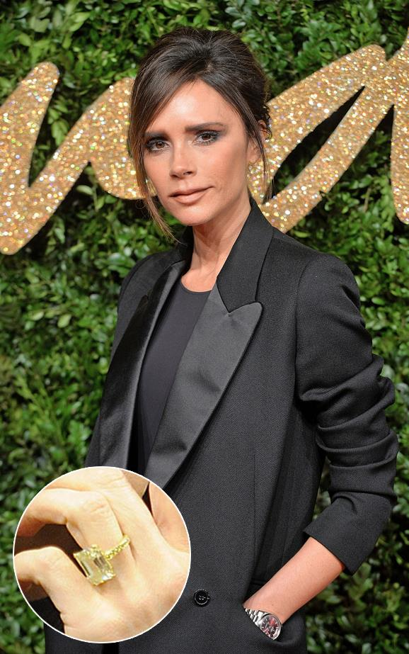 """***Victoria Beckham.***<bR><br> As previously reported, Victoria Beckham has more than [14 engagement rings](https://www.harpersbazaar.com.au/bazaar-bride/victoria-beckham-engagement-rings-14835 target=""""_blank"""") from husband David Beckham, but this emerald-cut diamond on a yellow gold pave band gets a special mention."""