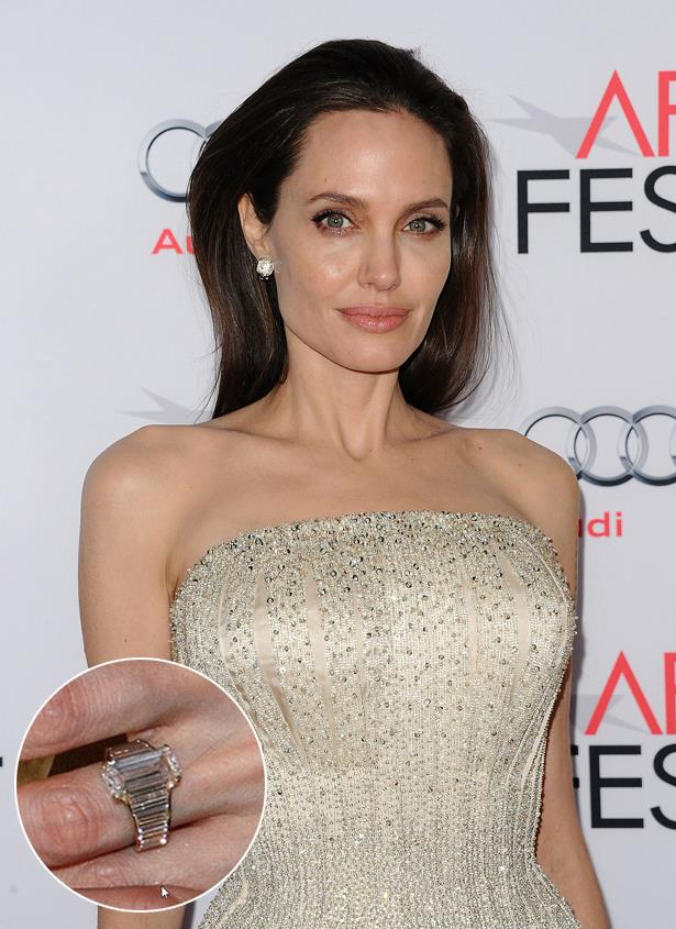 ***Angelina Jolie.***<br><br> When Brad Pitt proposed after all those years together, he did it with this 16-carat ring designed by Robert Procop.