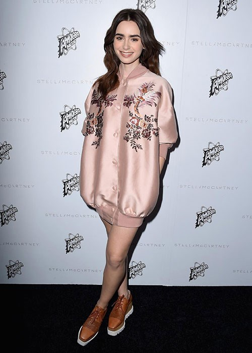 <p><strong> Celebs in Stella McCartney platforms: Lily Collins</strong></p> <p>Lily attended the star-studded Stella McCartney fall 2016 presentation in Los Angeles, and opted for a burnt-orange, embellished pair by the designer.</p>