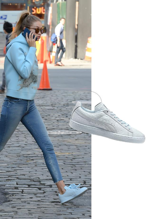 "<a href=""http://us.puma.com/en_US/pd/solange-suede-classic-triangles-womens-sneakers/pna888536887162.html"">Puma Solange Suede Classic Triangles Sneakers</a>, $90."